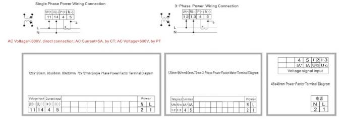 Iso9001 Three Phase Digital Power Factor Meter Active
